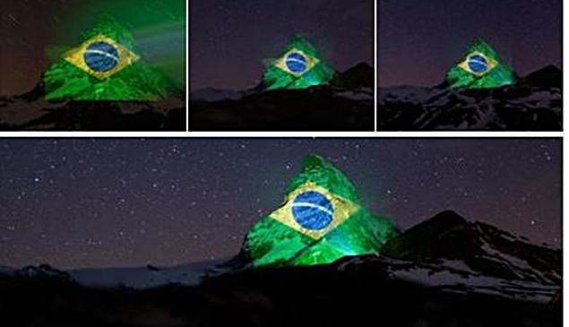 Coronavírus: Suíça deseja força ao Brasil com bandeira em montanha