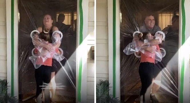 Criança inventa cortina de plástico para abraçar avós
