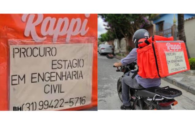 Entregador usa mochila para anunciar que busca Estágio em Engenharia